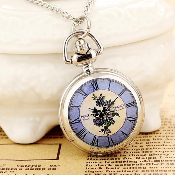 2020New Products Women Pocket Watch High Quality Steampunk Necklace Pendant Quartz Pocket Watch Fashion  Print  Relogio Feminino