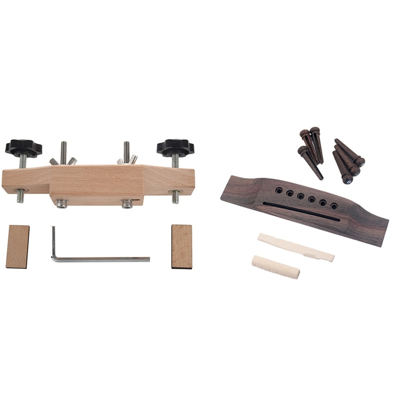 Solid Maple Guitar Bridge Install Clamp Luthier Tools with Acoustic Guitar Replacement Set