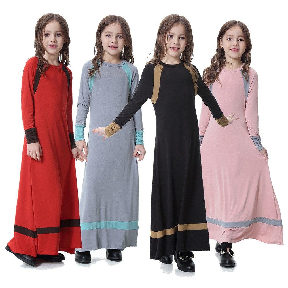 Dubai Arab Girl Muslim Dress Patchowork Kawaii Sweat A-line Long Dress Vestido Children Islamic Clothing Kaftan Dresses girls