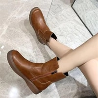 womens boots retro womens shoes zipper low heeled leather ankle boots comfortable casual boots plus size 43