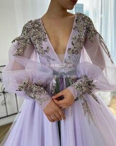 Sexy Deep V Neck Lilac Evening Dresses Applique Beaded Sequins Long Sleeves Prom Dresses 2020 Dubai Formal Celebrity Dress