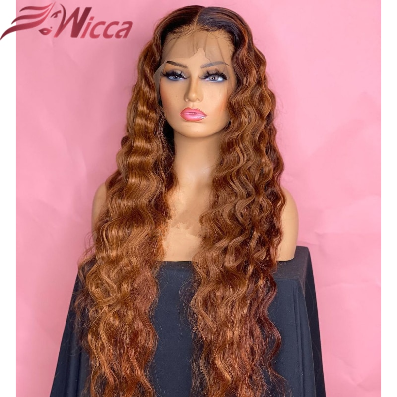 Highlight Colored Full 13x4 Lace Front Human Hair Wigs For Women 180 Density PrePlucked Brazilian Re