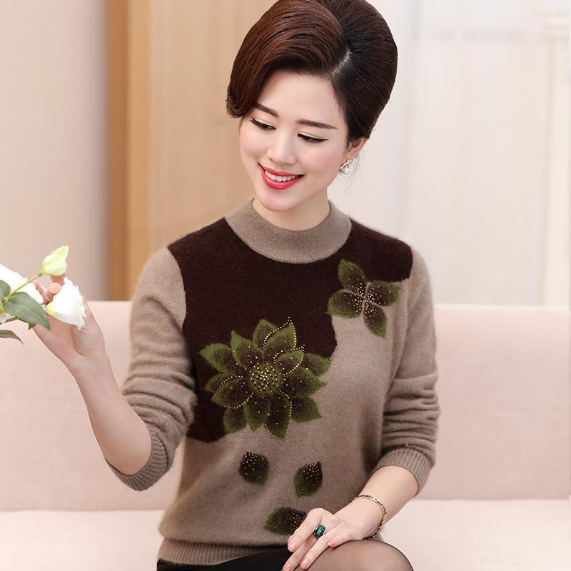 Middle aged and old women's sweater knitted sweater large size autumn and winter mother's sweater Plush thickened loose middle a