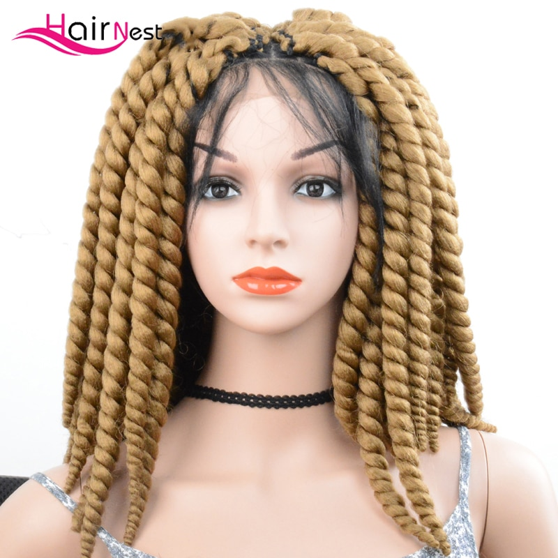 Hair Nest Diy Synthetic Hair Twist Lace Wigs Crochet Braided Box Braids Wigs Braided Lace Frontal Wigs  Blonde Black Ombre
