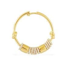 SLJELY موضة ريال S925 فضة الذهب الأصفر اللون واحدة متعددة الدوائر هوب القرط 1 قطعة للنساء مجوهرات فاخرة ماركة
