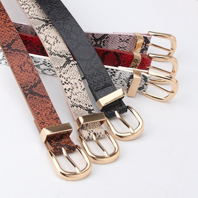 Waist Art New Gold Buckles Ladies Luxury Fashion Strap Snakeskin Belts Fashion Simple Jeans Decorati