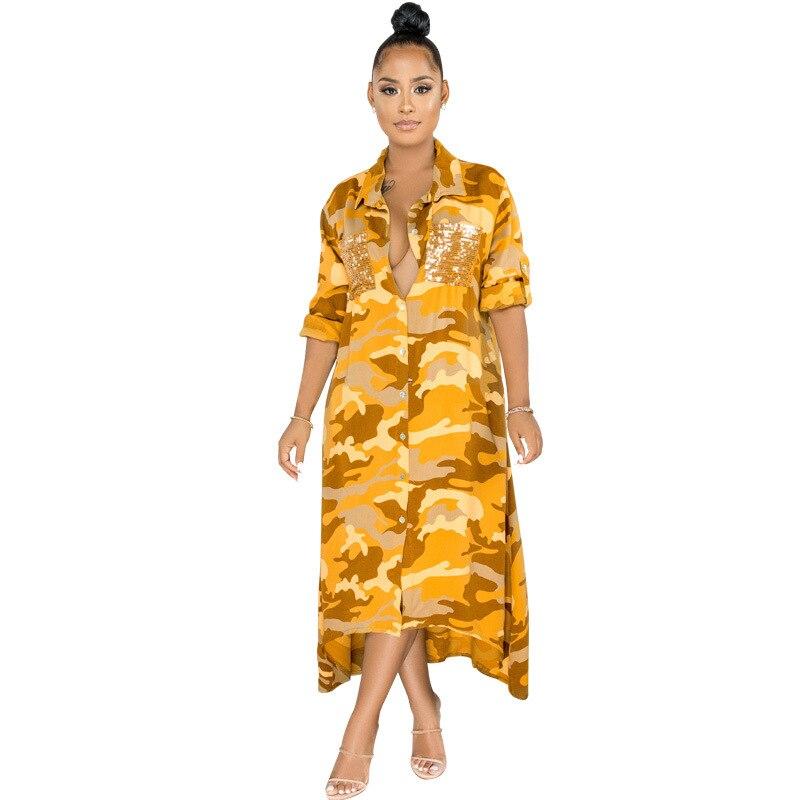 Playa vacaciones blusa Maxi vestido Sexy cuello pico manga larga lentejuelas bolsillo Patchwork vestido Color camuflaje estampado Casual mujer vestido