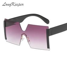 LongKeeper Oversize Square Rimless Sunglasses Women Brand Flat Top Big Steampunk Sun Glasses Female