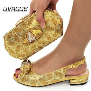 Italian Women Shoes Matching Bag in Golden Color High Quality African Decorate with Rhinestone for Wedding Party Sandals 2021