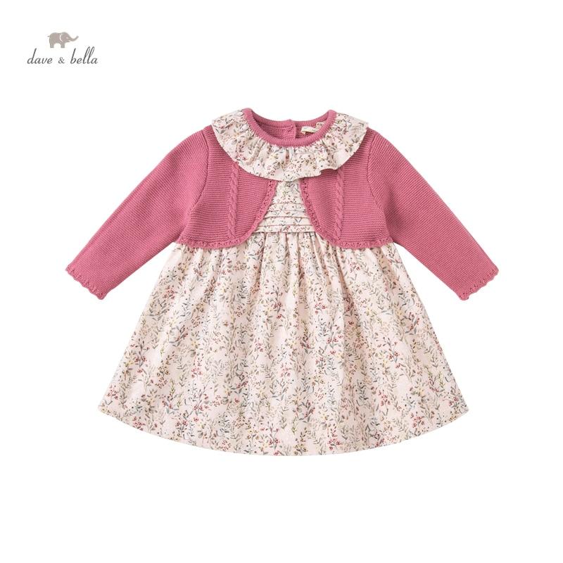 DB18924 ديف بيلا الخريف طفلة لطيف الأزهار طباعة سترة فستان أطفال موضة فستان الحفلات الاطفال الرضع لوليتا الملابس