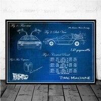 Affiche de film retour vers le futur  impression nordique  machine de course  peinture sur toile  decoration de maison  cinema  chambre de garcon