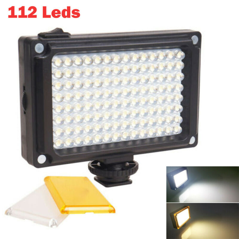 112 luz LED para vídeo lámpara fotográfica regulable para cámara videocámara estudio
