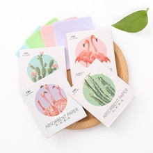 Flamingos 50-piece facial cleansing paper beauty tool with random patterns of facial tissue