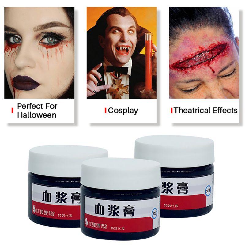 Halloween maquillaje herida falsa cicatrices sangre artificial respetuoso con el medio ambiente vampiro cosplay props sangre artificial maquillaje cera