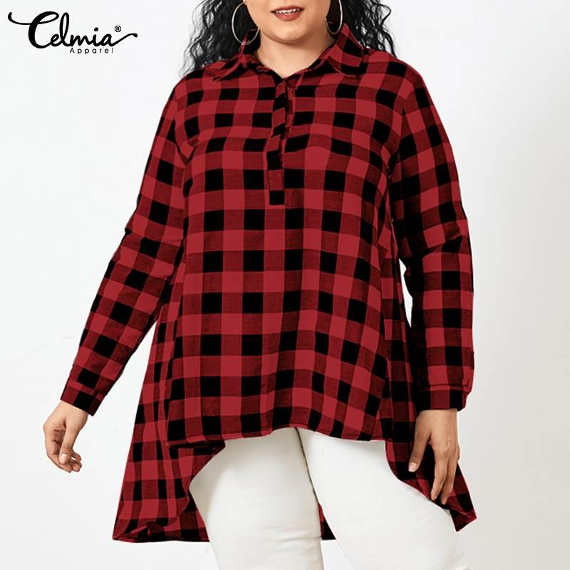 Celmia Women Vintage Plaid Blouses 2021 Fashion Lapel Asymmetrical Long Shirts Casual Loose Long Sleeve Tunic Tops Plus Size