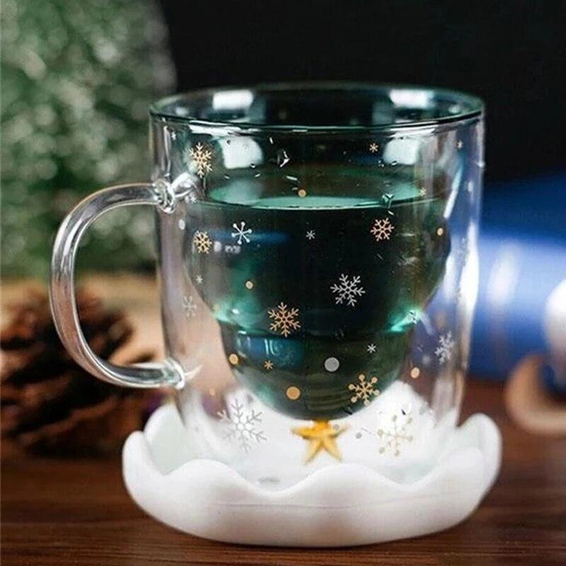 Árbol de Navidad taza de vidrio de doble pared copo de nieve Anti-quemaduras tazas de café aisladas LE66