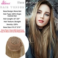 k s wigs 16 20 150 density topper wig virgin cuticle remy human hair breathable mono net with clip in hair toupee for women