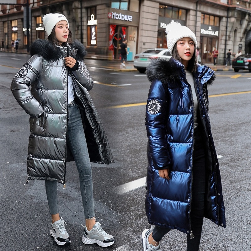 2021 شتاء جديد المرأة كبيرة الفراء طوق مقنعين أسفل لوحة قطن الكورية طويلة سميكة الدافئة سترة سترة نسائية معطف القطن