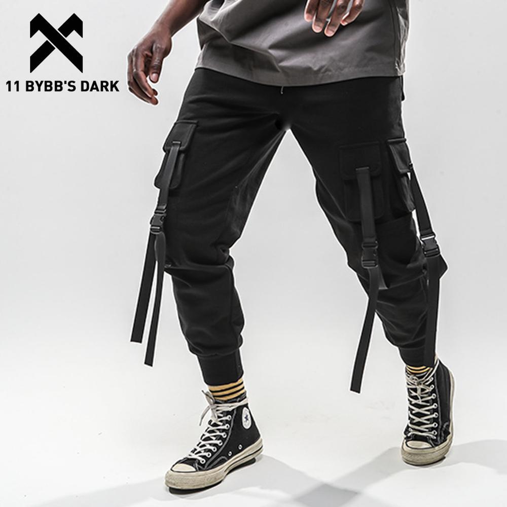 11 BYBBS oscuro Patchwork Multi bolsillos pantalones de carga Harajuku cintas pantalones de chándal Casual Hip Hop Streetwear hombres chándal Pantalones