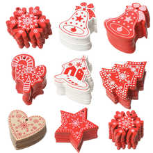 100pcs Creative Crafts Wooden Christmas Tree Pendant Home Decoration Gift DIY Accessories Christmas Strap Carved Wood Chips