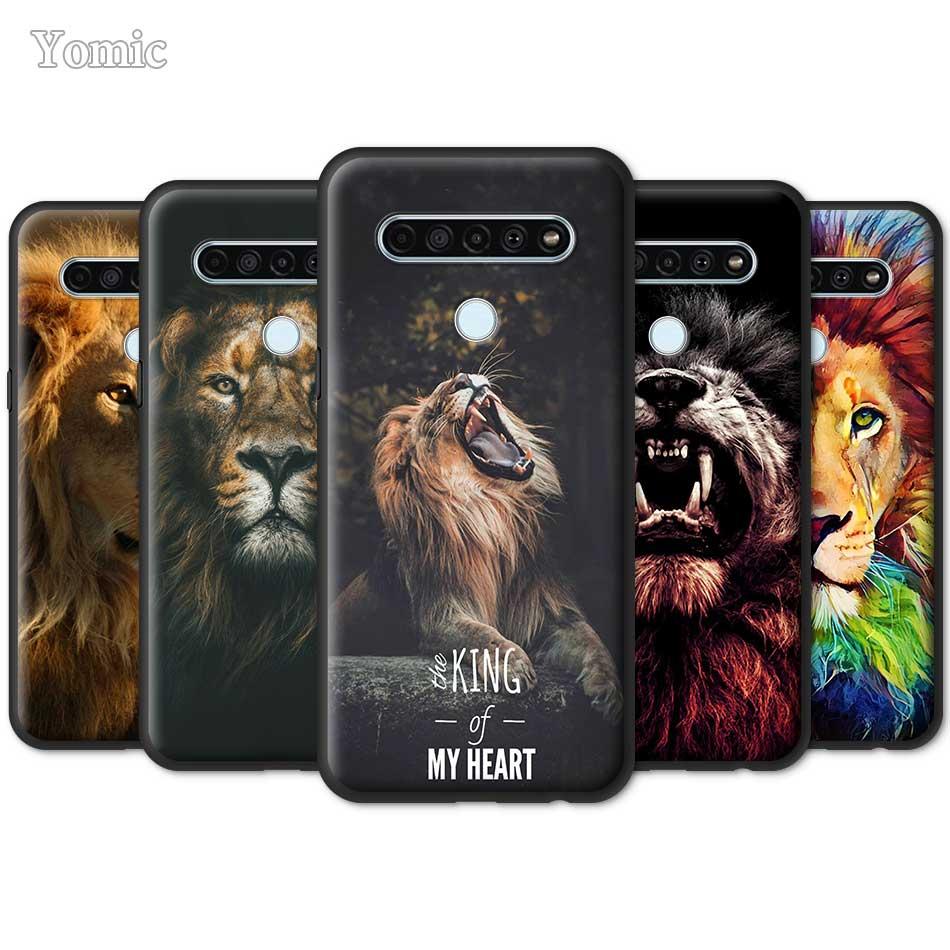 King Tiger Lion, funda para LG K40s K41s K61 K50s G6 G7 G8 ThinQ K40 K51s Q51 Q70 Q60 Q61, funda blanda negra de TPU para teléfono