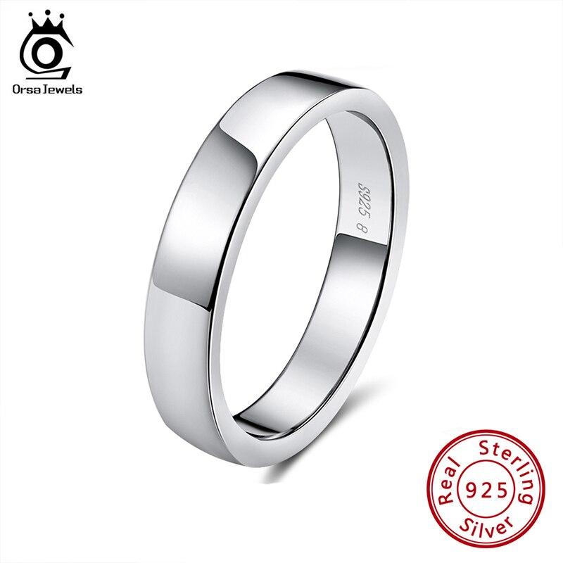 לאורסה תכשיטים אמיתי 925 סטרלינג כסף נשי טבעות קלאסי עגול צורת פשוט סגנון יום נישואי טבעת תכשיטים SR73