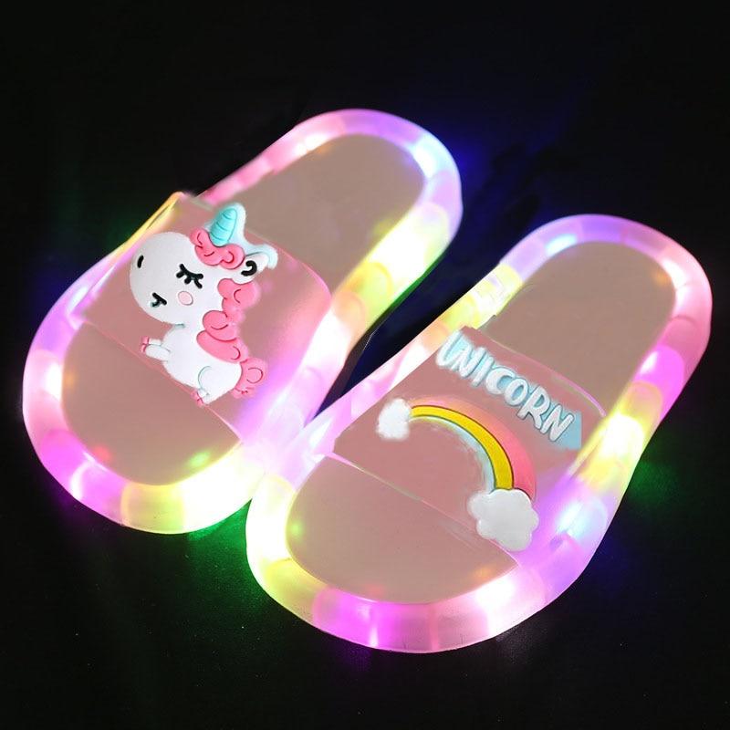 2020 Girl Slippers Children LED  Kids Slippers Baby Bathroom Sandals  Kids Shoes for Girl  Boys Light Up Shoes  Toddler