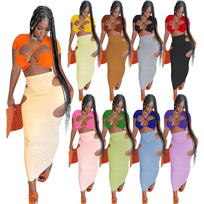 Women 2pcs Dress Set Summer Short Sleeve Cropped Hollow Out Top And Long Cut Out Skirts Sexy Nightclub Party Bodycon S-XXL cut out sleeve plain top