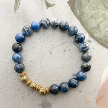 Simple Natural Blue Grain Stone Bracelet for Women 8mm Round Beaded Couple Bracelet Wholesale Bulk G