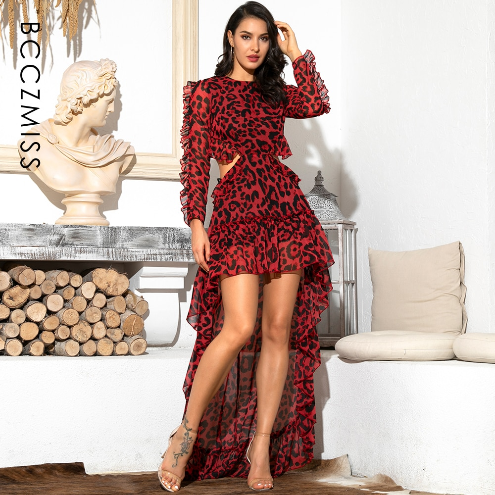 Chiffon Long Sleeve Sexy Cut Out Open Back Red Leopard Women's Dress 81503