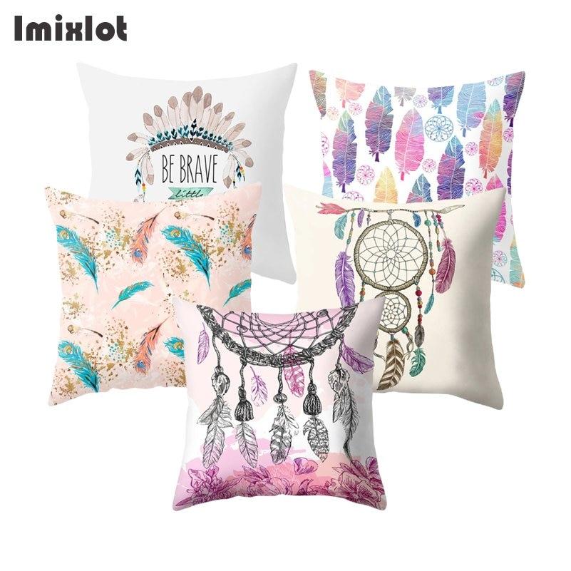 New Style Dreamcatcher Feather Sofa Decorative Pillow Cushion Cover Pillowcase 45*45 Polyester Throw Pillow Case Car Home Decor