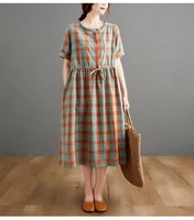 2021 new arrival japan style sweet girls dress short sleeve korea design plaid summer dress cotton linen women casual dress