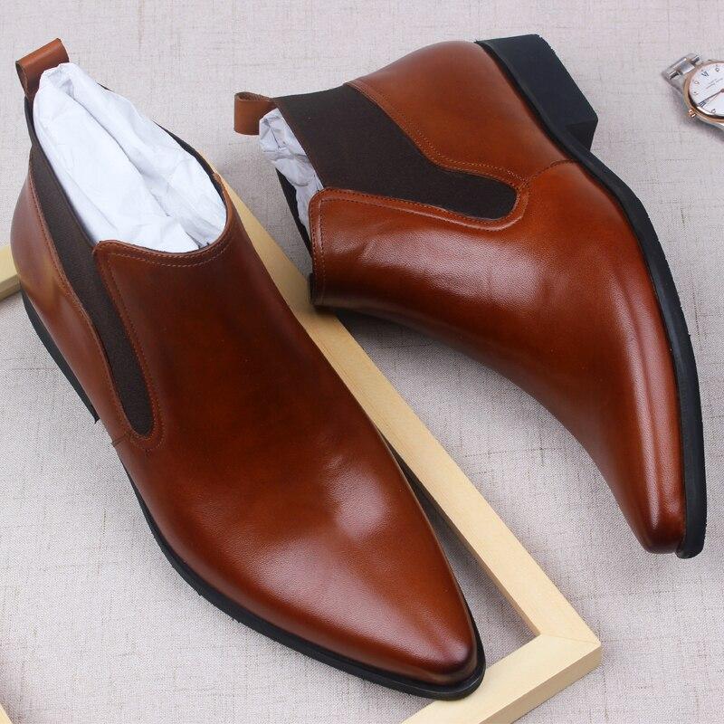 وينغيب تشيلسي أحذية الرجال جلد طبيعي عالية الجودة جلد البقر الرجال فستان أحذية أحذية أسود براون الدانتيل متابعة الجلد المدبوغ حذاء من الجلد