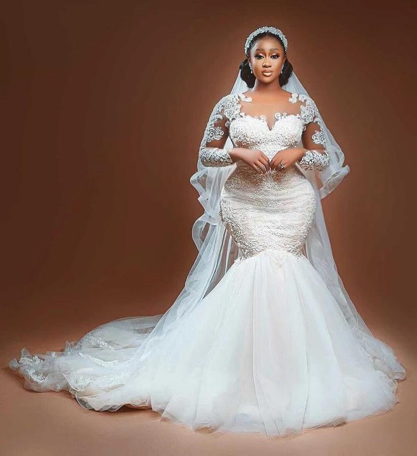 Свадебные платья-русалки в арабском стиле с длинным рукавом и прозрачным вырезом, кружевные платья с аппликацией, прозрачные аксессуары, св...