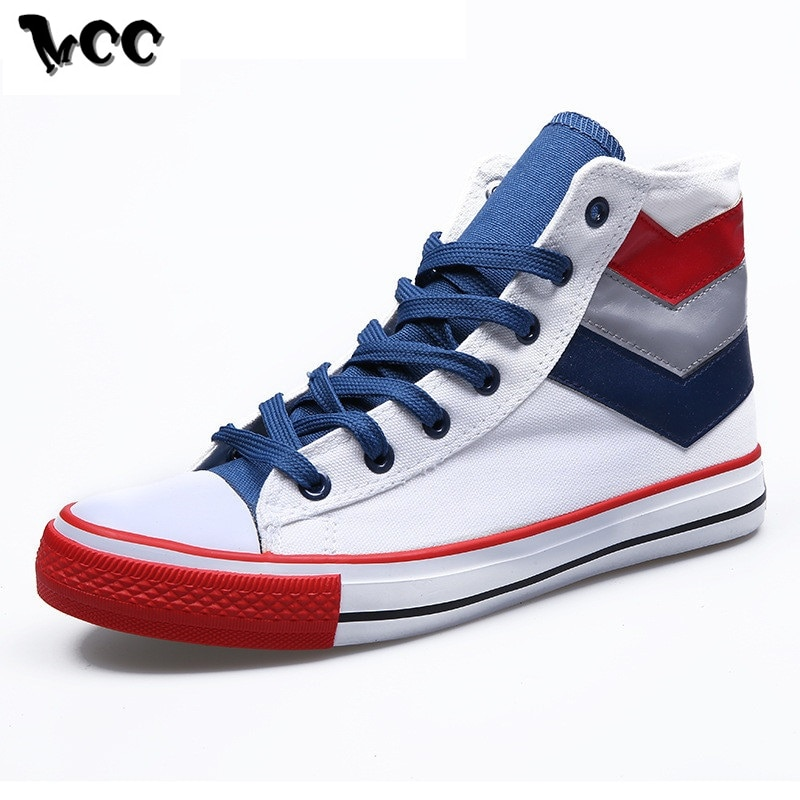 New High Top Canvas Shoes Men Sneakers Flat Casual Shoes Lace-up Classic Round Toe Retro Mixed Color