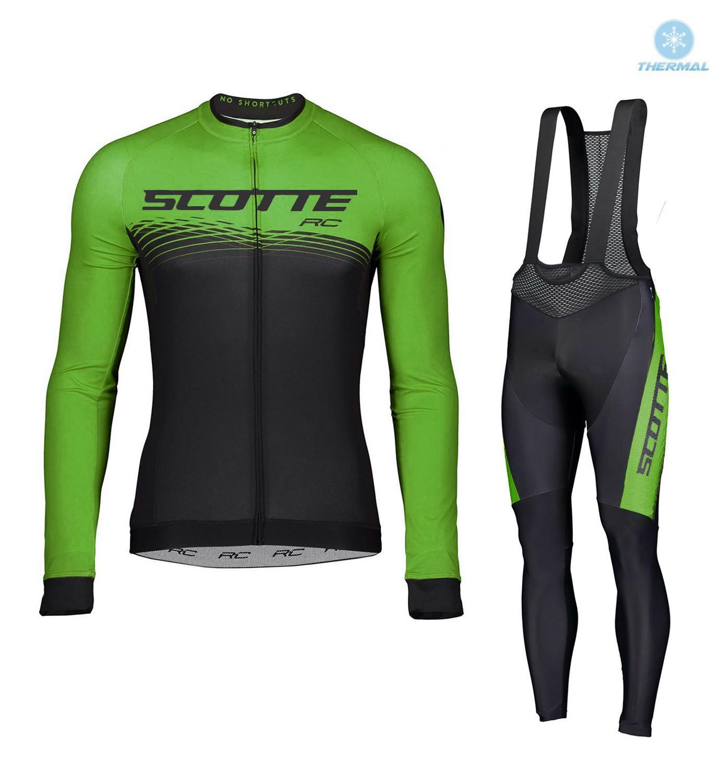 2019 caliente de lana térmica de invierno verde Scotte manga larga Ciclismo...