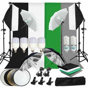 ZUOCHEN фотостудия светодиодный зонт для софтбокса осветительный комплект фоновая Подставка 4 цвета фон для фотосъемки видеосъемки