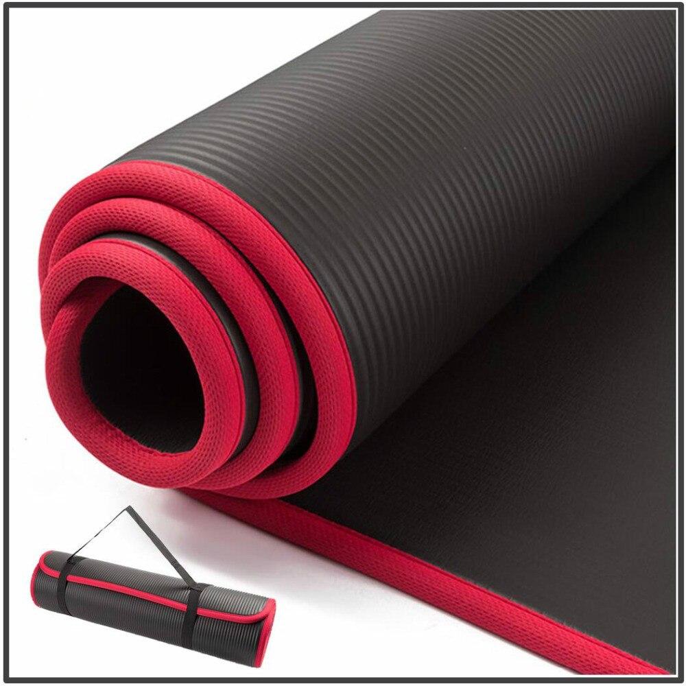 10mm extra grosso 183cm x 61cm alta qualidade nrb antiderrapante yoga esteiras para fitness insípido pilates ginásio exercício almofadas com ataduras