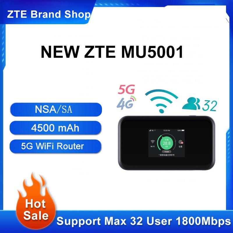 جهاز توجيه أصلي محمول 5G واي فاي برو ZTE MU500 MU5001 شبكة هوت سبوت Sub6G شاشة 2.4 بوصة ملونة تعمل باللمس حتى 30 جهاز