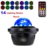 starry sky led star galaxy projector ocean wave night light music player remote rotating blueteeth decoration bedroom lights d40
