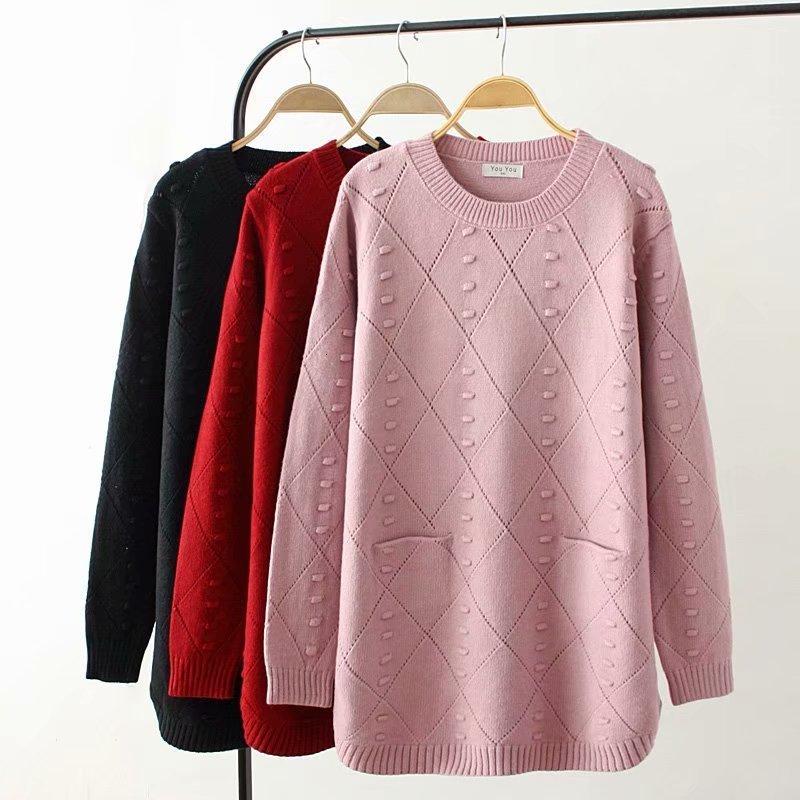 O-hals de invierno herfst de talla grande vrouwen Gebreide truien roze y rojo oscuro y negro ahuecado dames trui wol vrouwelijke 4XL