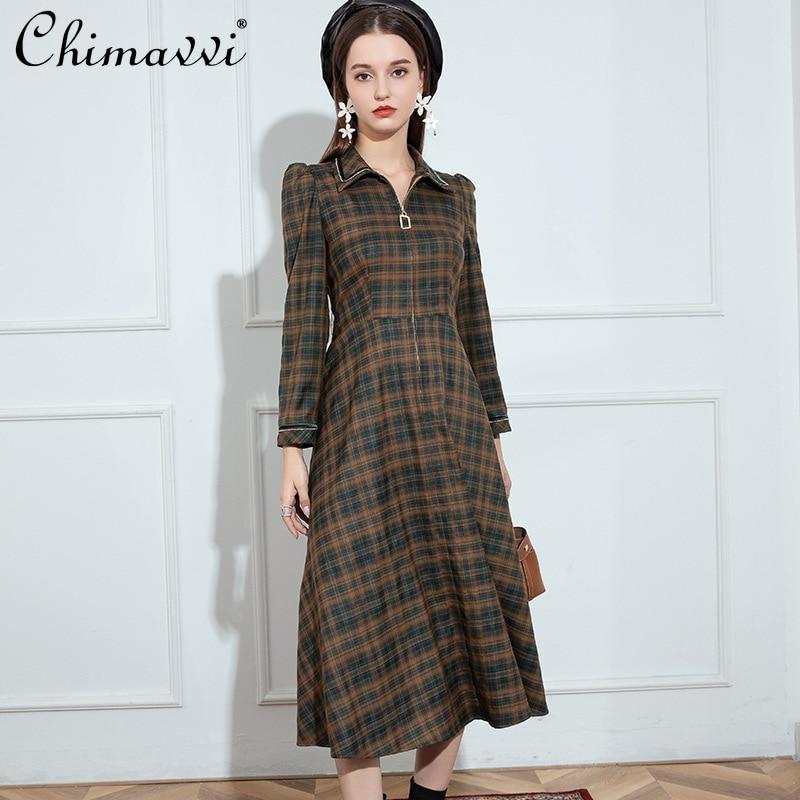 فستان ميدي نسائي للخريف 2021 أنيق بأكمام طويلة فستان طويل للسيدات بخصر عالٍ فستان كوري غير رسمي