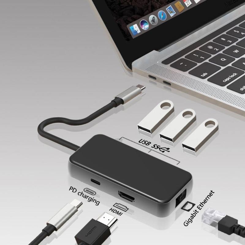 TypeC USB3.0 محور محطة الإرساء متعددة ميناء 6 in1 HDD HDMI متوافق PD Rj45
