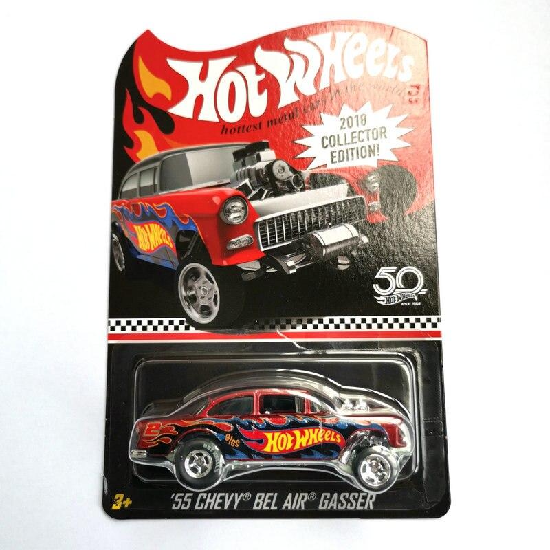 Ruedas de coche calientes Red Line Club 70 chaqueta Chevy Collector edición 50 aniversario Metal Diecast coche juguetes niños regalo