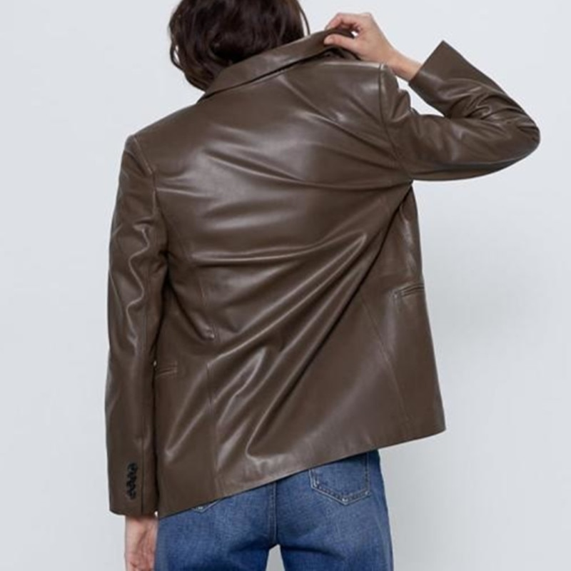 Jaqueta De Couro Feminino Single-piece Suit Full Leather Jacket Top New 2020 Autumn Arrivals Women's Double-breasted V-neck Pu enlarge