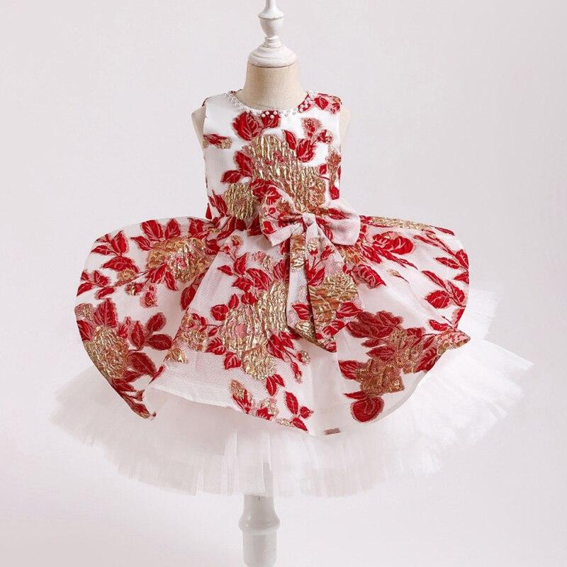 فستان أميرة من قماش الجاكار ، تنورة توتو من الشاش مع طبعات متعددة الطبقات ، فستان مأدبة ، مجموعة جديدة