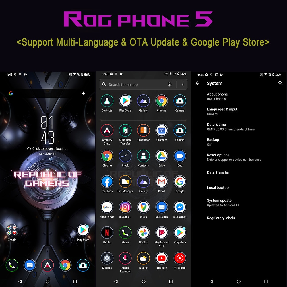 Official Original Asus ROG 5 5G Gaming Phone Snapdragon 888 144Hz 65W Hyper Charge 6000mAh 64MP NFC 12GB 256GB Smartphone