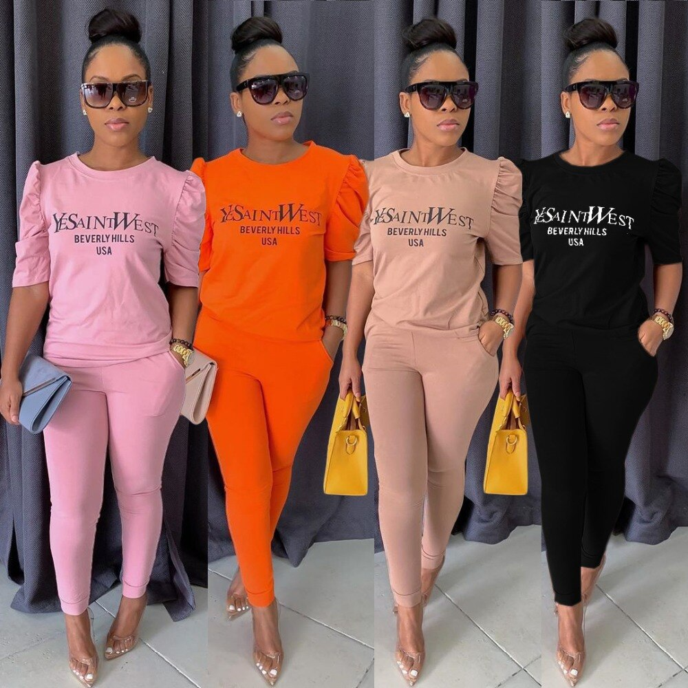 Fashionable Stretch Casual Suit Solid Color Ladies 2 Two-Piece Letter Sportswear Short Sleeve T-Shirt + Nine Points Pants Suit