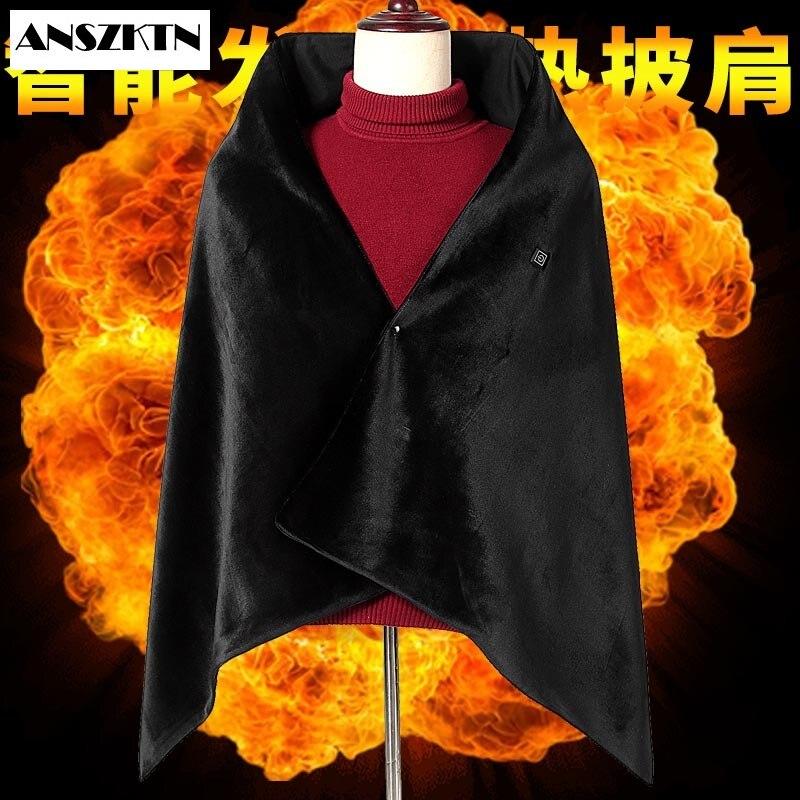 Anszktn novo estilo feminino cabo de aquecimento elétrico usb espessamento capa feminina quente capas aquecidas xale cachecóis inverno capa
