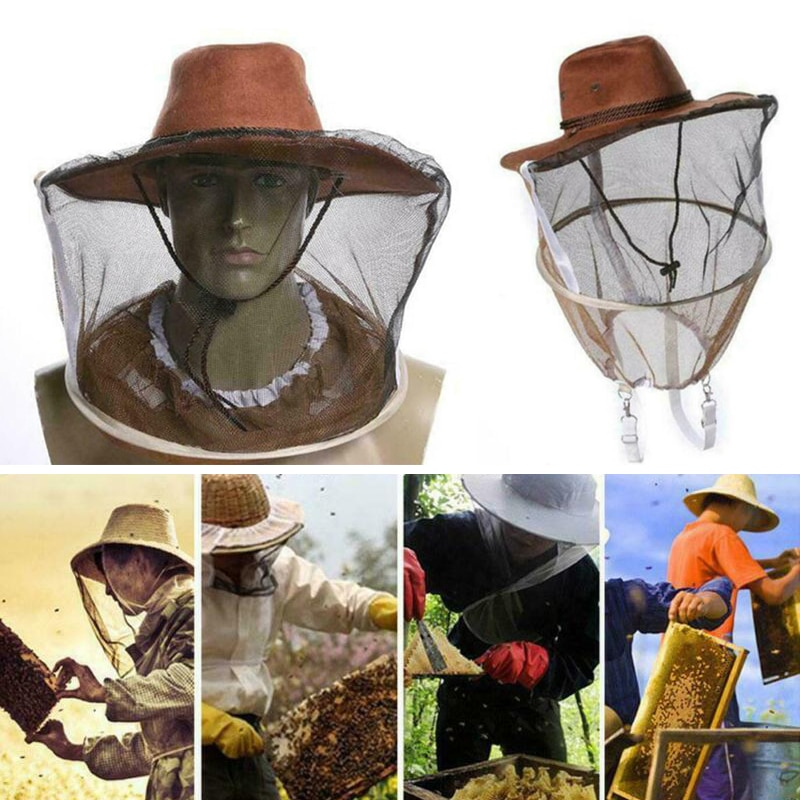 outdoor survival anti mosquito bug bee insect mesh hat head face protect net cover travel camping protector camping equipment Beekeeping Beekeeper Cowboy Hat Mosquito Bee Insect Face Veil Net Protector Design Anti Bee Hat Breeding Supplies Fast Shipping